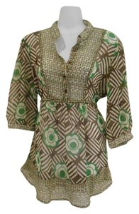 Andrew & Co. New Floral Geometric Flower Print Shirt Button Button Up Pull Over Pull Over Sheer Earthy Artsy Edby Edgy Comfy Work Tunic