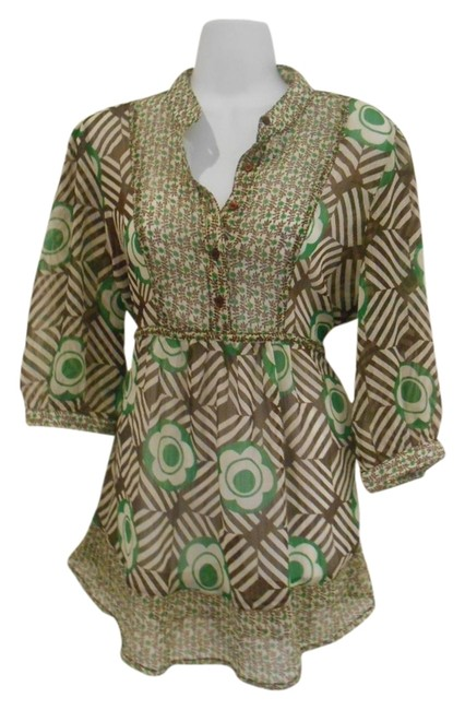 Item - Dark Brown Cream and Green Large Super Comfy Earthy Floral Tunic Size 12 (L)