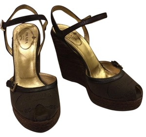 Prada Designer Pump Brown Wedges