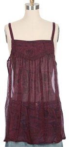 Winter Kate Nicole Richie Silk Boho Bohemian Top Maroon