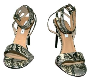 Diane von Furstenberg Snake Print Leather Grey, Black, White Sandals