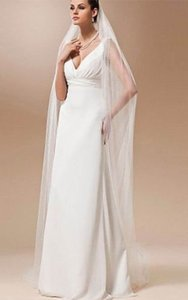 Beautiful Cathedral Length White Tulle Wedding Veil
