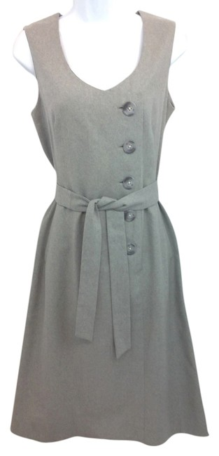 Item - Vintage Sleeveless Belted Light Grey Wool Mid-length Work/Office Dress Size 6 (S)
