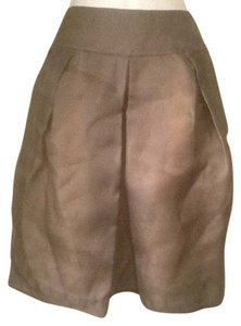 Valentino Boutique Silk Organza Skirt Taupe