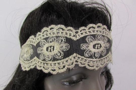 Other Women Elastic Fabric Fashion Headband Oval Flowers Beige Lace Fabric