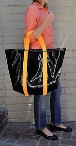 Marc Jacobs Marc By Shiny Designer Handbags Black Orange Tote in Multi-Color