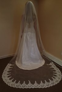 Bridal Cathedral Veil With Sequin Lace Comb