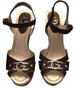 Guess Black, White, Silver Wedges