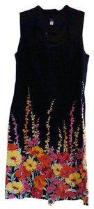 Spense short dress Black Multi-color Floral A-line Empire Waist Sleeveless on Tradesy