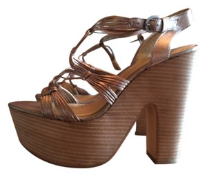Seychelles Platform Leather Metallic Pewter Platforms