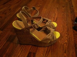 Madden Girl Wedge Cork Wedge Summer Natural and Yellow Wedges