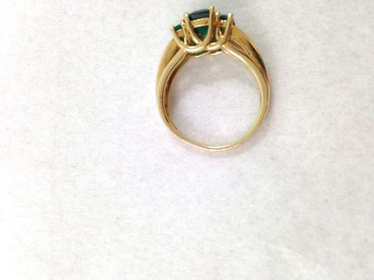 Zales Green Emerald In Princess Cut With Diamonds In 14K Yellow Gold