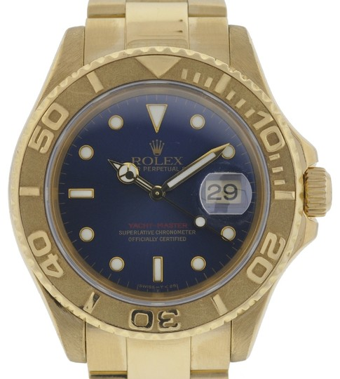 Rolex Rolex 16628 18k Yellow Gold Yachtmaster Blue Dial Watch