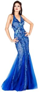 Jovani Halter Sequins Tulle Train Mermaid Dress