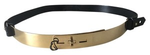 Burberry BURBERRY Polished Gold Metal Hoop Kaylin Black Leather Belt. Size 36 / 90