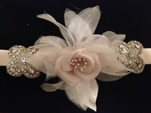 Giavan Champagne Rose with Swarovski Leaf Crystals Sash