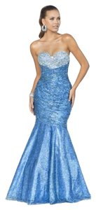Blush Mermaid Sequins Beads Beaded Strapless Mermaid Prom Dress