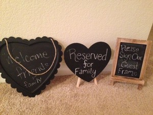 Lot Of 4 Various Chalkboard Signs (2nd Heart Easel Not Pictured)