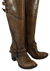 Børn Double Buckle Distressed Heeled Brown Boots