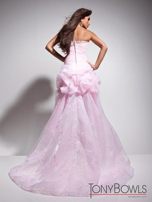 Tony Bowls High- Low Tulle Train Flowers Applique Beads Sequins Strapless Prom Prom Dance Dress