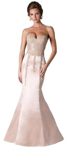 Janique Mermaid Beads Strapless Train Dress