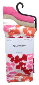 Nine West Nine West Crew Socks 3 Pair One Size 9-11 Animal Print & Two Solid