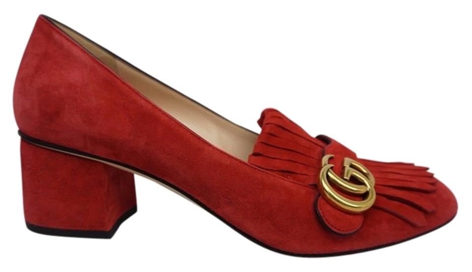 91ce5c5c6e6 Gucci Red Marmont Fringed Crimson Kiltie Suede Women s Pumps Size US ...