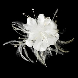 Elegance By Carbonneau Most Popular Item!! White Feather Flower Hair Fasincator Clip/brooch Combo. Price Includes Shipping