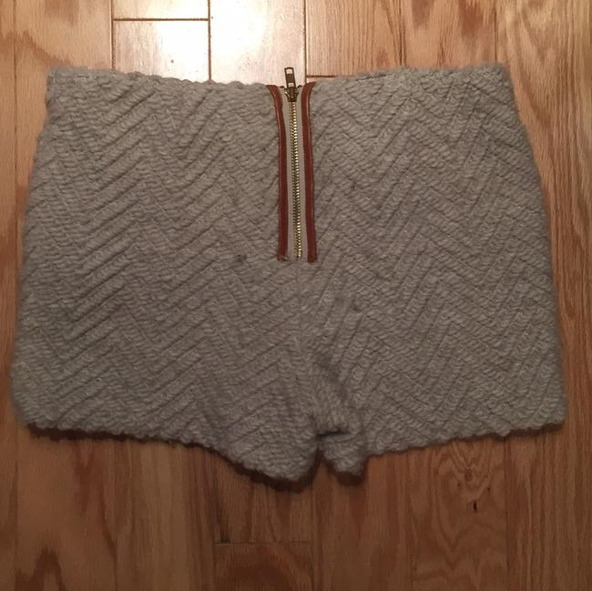 Shui Chen Textured Wool Leather Dress Shorts Off white