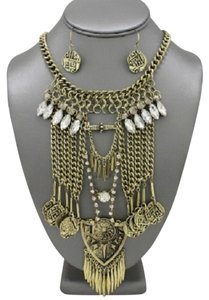 Other Antique Gold Fringed Metal Rhinestone Crystal Tribal Boho Necklace Set