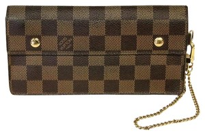 Louis Vuitton Louis Vuitton Damier Ebene Java Portefeuille Gold Chain Wallet