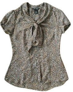 White House | Black Market Work Attire Short Sleeve Animal Print Top Leopard