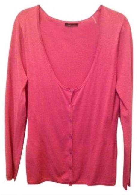 Preload https://item1.tradesy.com/images/bcbgmaxazria-pink-v-neck-button-up-sweaterpullover-size-14-l-141755-0-0.jpg?width=400&height=650
