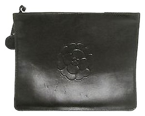 Chanel Leather Camellia Black Clutch