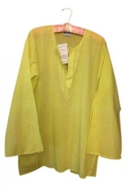 Preload https://item4.tradesy.com/images/yellow-cotton-embroidered-tunic-size-os-one-size-141758-0-0.jpg?width=400&height=650
