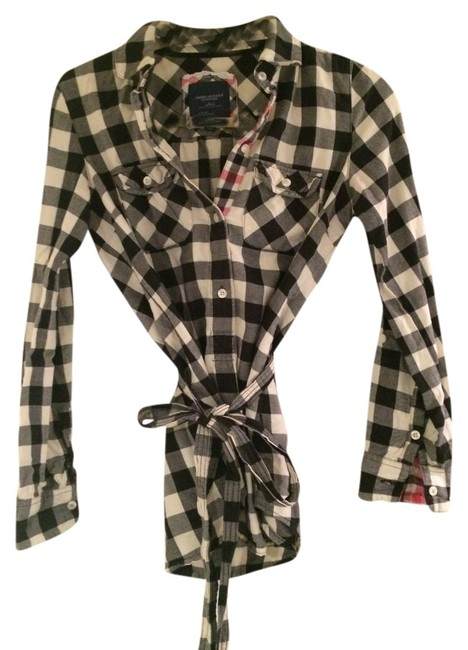 American Eagle Outfitters Button Down Shirt black and white plaid
