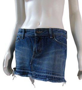 Abercrombie & Fitch Frayed Distressed Jean Denim Mini Skirt Blue