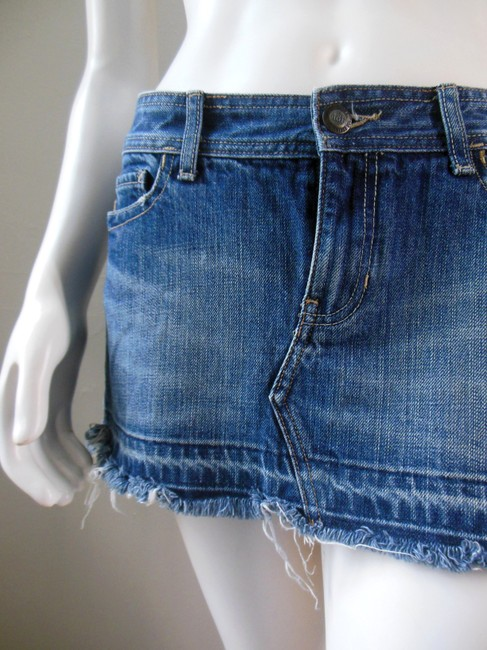 Abercrombie & Fitch Frayed Distressed Jean Denim Wash Micro Mini Micro-mini Mini Skirt Blue