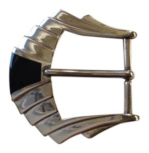 Art Deco Sterling Silver And Onyx Belt Buckle