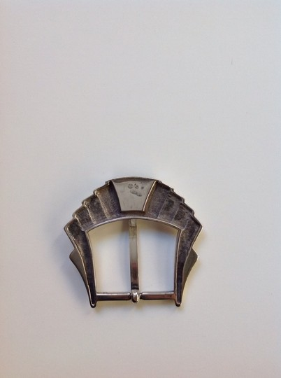 Other Art Deco Sterling Silver And Onyx Belt Buckle