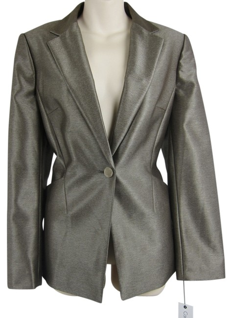 Preload https://item1.tradesy.com/images/calvin-klein-pewter-jacket-metallic-fitted-m-blazer-size-10-m-1417660-0-0.jpg?width=400&height=650