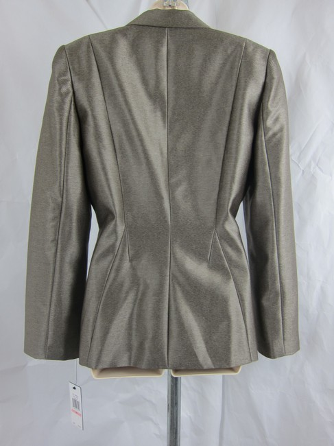 Calvin Klein Metallic Shiny Fitted Bloomingdale's Saks Fifth Avenue Neiman Marcus Nordstrom pewter Blazer