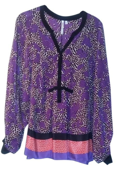 Petticoat Alley Silk V-neck Buttoned Front Oversized Sleeves Top Purple Print