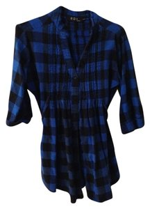 RDI Button Down Shirt Blue & Black Plaid