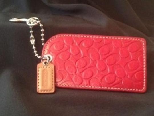 Coach COACH Red leather luggage tag Signature logo. Never Used.