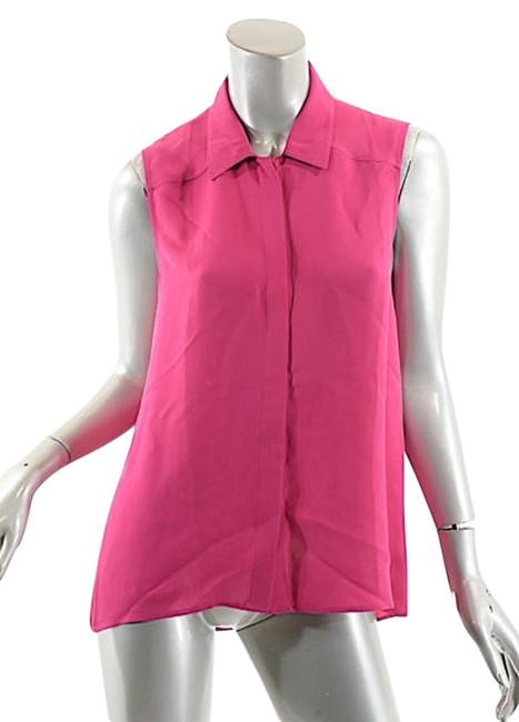 Theory Pink L W Fuchsia Silk Crepe S/L Button Down Shirt W/Hidden Placket Blouse Size 8 (M) Image 0