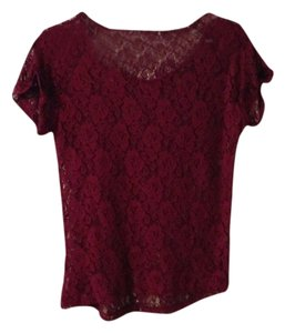 Next Era Lace Sheer Red Top Raspberry