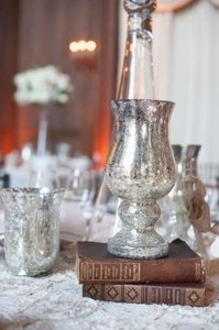 Silver Mercury Glass Footed Hurricane Candle Holders Centerpiece