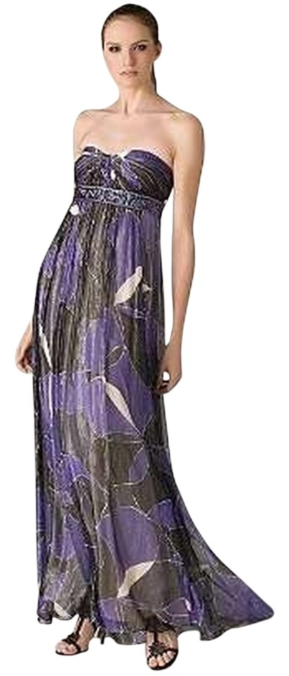 BCBGMAXAZRIA Purple Black White Silver And Bcbg Gown Long Formal ...