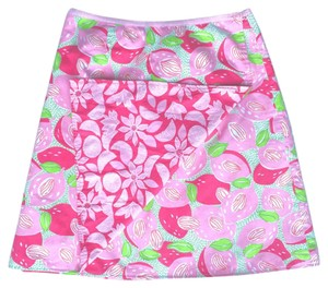 Lilly Pulitzer Wrap Reversible A-line Sz 6 Skirt Pink White